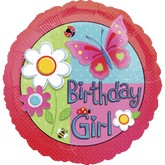 "18"" Garden Girl Birthday Mylar Balloons"