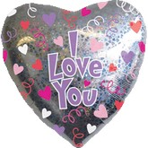 "32"" Jumbo Holographic I Love You Balloon"