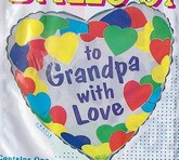 "18"" To Grandpa With Love Border Of Hearts Balloon"