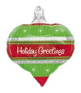 "18"" Holiday Greetings Ornament Balloon"