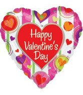 "32"" Happy Valentines day Stripes Balloon"