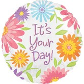 "18"" It&#39s Your Day Flowers Balloon"
