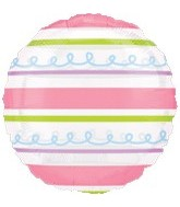 "18"" Pink and Green Stripes Clear Balloon"