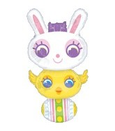 "35"" Bunny Chick and Egg Stacker Unpackaged"