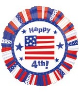 "18"" Happy  4TH Flag Balloon"