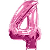 "42"" Large Number 4 Pink Shaped Foil Balloon"