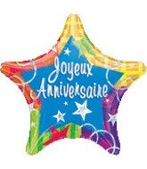 "18"" French Happy Anniversary Holographic Star"
