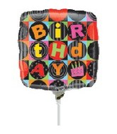 "9"" Airfill Black Birthday Balloon"