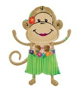 "33"" Monkey Balloon Luau Girl Shape"