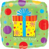 "31"" It&#39s Your Day Jumbo Present Balloon"