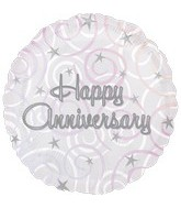 "18"" Happy Anniversary Swirls Mylar Balloon"