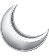 "26"" Silver Crescent Moon Balloon"