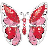 "38"" Whimsical Hearts Butterfly Shaped Jumbo Balloon"