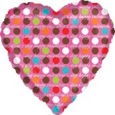 "18"" Valentines Heart with Dots Mylar Balloon"