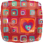 "18""  Funky Love Squares Balloon"