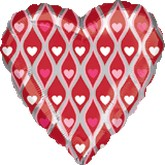 "18"" Pink and White Hearts Foil Balloon"