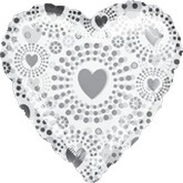 "18"" Bedazzled Hearts Clearly Metallic"