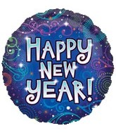 "18"" Happy New Years Swirling New Year Balloon"