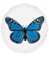 "18"" Magicolor Blue Butterfly Clear Balloon"