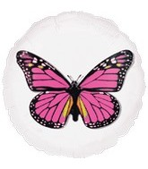 "18"" Magicolor Pink Butterfly Clear Balloon"