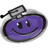 "22"" Purple Graduation Smiley Balloon"