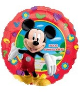 "18"" Mickey Feliz Cumpleanos Red Border"