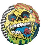 "18"" Mad Balls Skull Face Mylar Balloon"