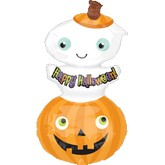 "35"" Happy Halloween Stacker Balloon Ghost"