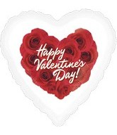 "18"" Happy Valentine&#39s Day Roses White Boarder"