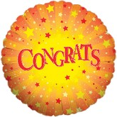 "18"" Congrats Scattered Stars Mylar Balloon"