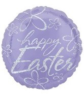 "18""Happy Easter Dazzler Balloon Lilac"