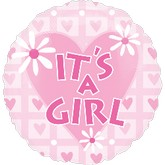 "18"" Its A Girl Pink Mylar Balloon"