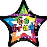 "18"" Star You Did It Balloons Go Grad"