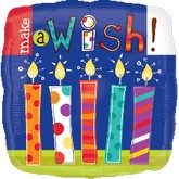 "18"" Make A Wish Candles Mylar Balloons"