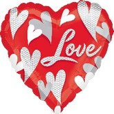 "18"" Swirl Hearts Love Mylar Balloon"