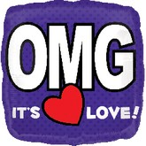 "18"" O.M.G. It&#39s Love! Purple Square"