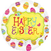 "18"" Happy Easter with Eggs Mylar Balloon"