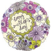 "18"" Happy  Mother&#39s Day Floral Clear  Balloon"