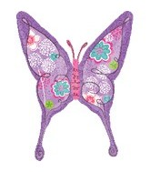"28"" Purple Floral Swallowtail Butterfly"
