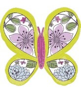 "33"" Lime Green Butterfly Mylar Balloon"