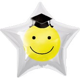 "32"" Smiley Grad Star Shape Clear Balloon"