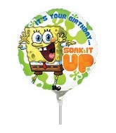"9"" Mini Balloon (Airfill Only) SpongeBob Birthday"