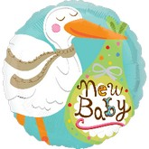 "18"" New Baby Stork Mylar Balloon"