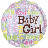 "18"" Baby Girl Sparkles Holographic Balloon"
