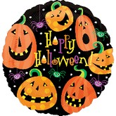 "18"" Happy Halloween Pumpkin & Spiders Mylar Balloon"