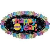 31'' Happy New Year Holographic Ruffle