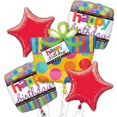 Happy Birthday Dots & Stripes Balloon Bouquet