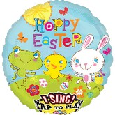 "28"" Singing Cottontail Hoppy Easter Balloon Packaged"