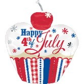 "24"" 4th of July Cupcake Balloon"