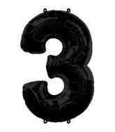 "34"" Anagram Brand Black Number 3 Balloon"